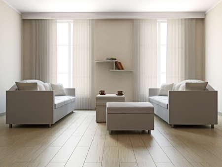 big windows: Гостиная с диванами и столом возле большими окнами