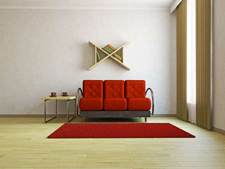 Red sofa in the livingroom near the window Stock Photo - 16430126