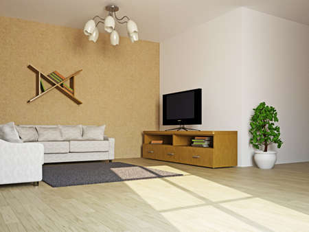 Livingroom with sofas and TV near  the wall Stock Photo - 16430130