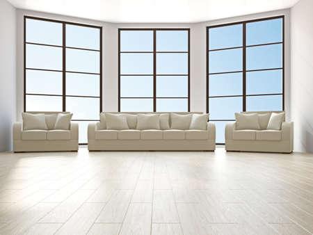 Livingroom with sofa and a armchairs near the windows Stock Photo - 16463540