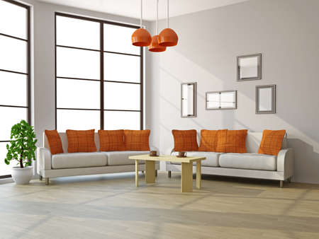 Livingroom with sofas and a table near the windows Stock Photo - 16463542