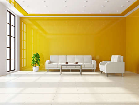 Livingroom with sofas and a table near the wall Stock Photo - 16659416