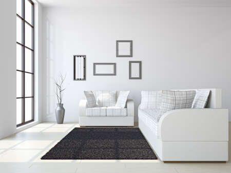 Livingroom with sofas and a vase near the windows Stock Photo