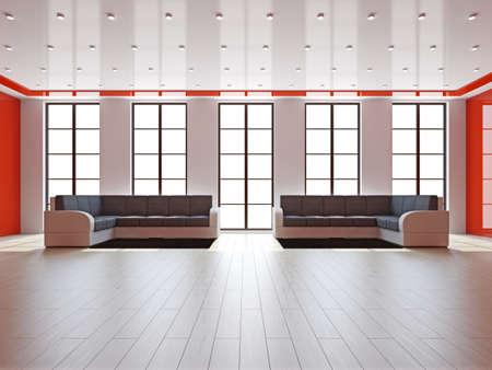 Livingroom with sofas near the big windows Stock Photo - 16659411