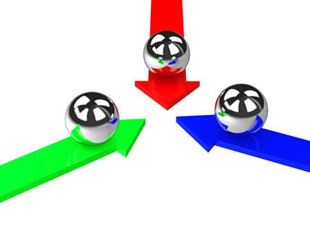 Three metal balls on a color arrows photo