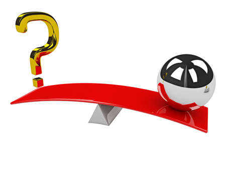 Gold question mark and metal sphere on scales Stock Photo - 16659395