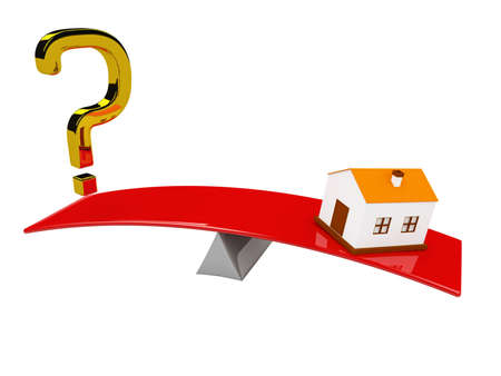 Gold question mark and the small house on scales Stock Photo - 16659393