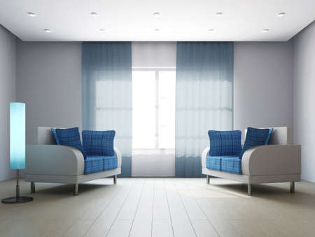 Armchairs in the livingroom near the wall Stock Photo - 16659421