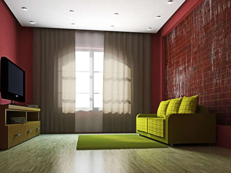 The livingroom with TV and green sofa Stock Photo - 16659428