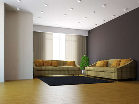 Livingroom with sofas and a plant near  the window Stock Photo - 16659422