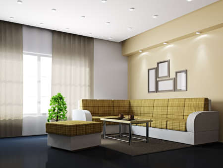 Livingroom with sofa and a table near the windows photo