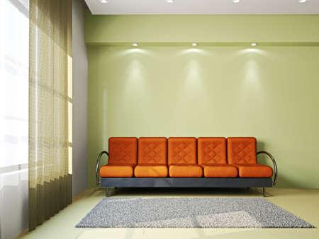 Livingroom with sofa  and a carpet near the windows Stock Photo - 16820236