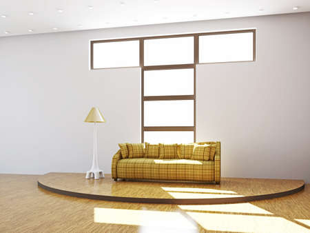 Livingroom with sofa  and a lamp near the windows Stock Photo - 16820313