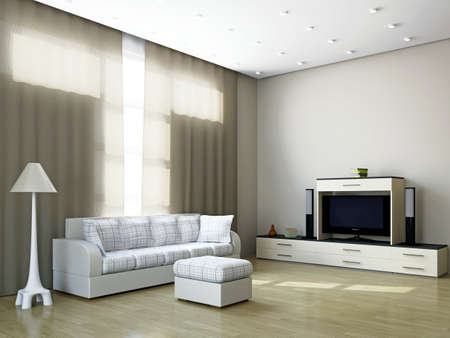 Livingroom with furniture and a TV near the windows Stock Photo - 16820319
