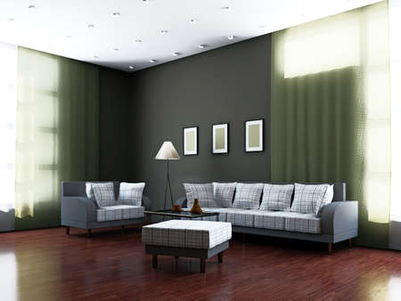 Livingroom with furniture and a lamp near the windows photo