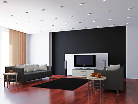 Livingroom with furniture and a TV near the wall Stock Photo - 16820243