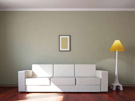 Livingroom with sofa  and a lamp near the wall photo