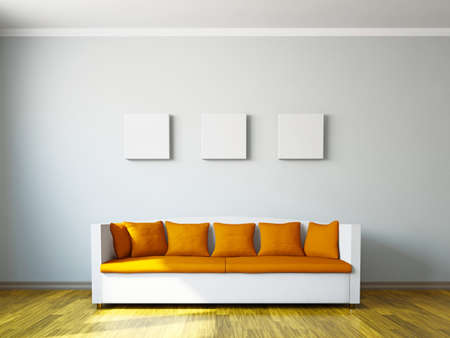 Livingroom with orange sofa  near the wall photo