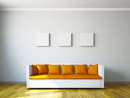 Livingroom with orange sofa  near the wall Stock Photo
