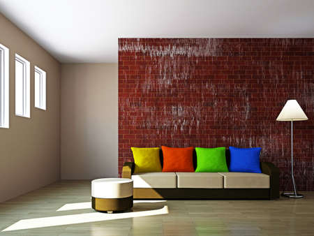 Livingroom with sofa  and a lamp near the wall Stock Photo - 16820272