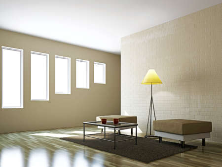 pouf: Livingroom with pouf  and a lamp near the wall Stock Photo