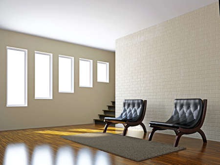 Livingroom with leather chairs  near the wall Stock Photo - 16820279