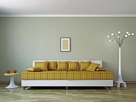Livingroom with sofa  and a lamp near the wall Stock Photo - 16820282