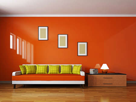 Livingroom with sofa  and a shelf near the wall Stock Photo - 16820324