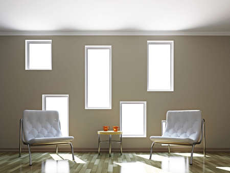 Livingroom with leather chairs  near the wall Stock Photo - 16820325