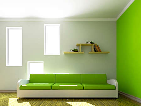 Green sofa in the livingroom near the window Stock Photo - 16820327