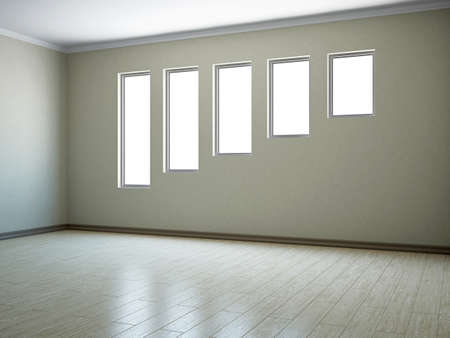 Empty room with windows of the different size Stock Photo - 16820238