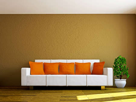 Livingroom with sofa and a plant near the wall photo