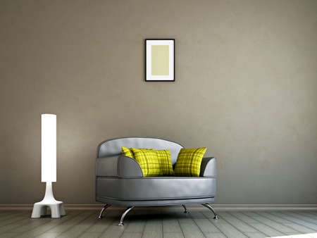 Livingroom with armchair  and a lamp near the wall photo