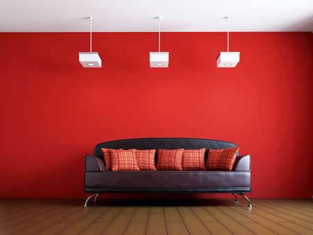 Livingroom with leather sofa  near the wall photo