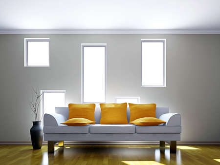 Sofa in the livingroom near the window Stock Photo - 16820323