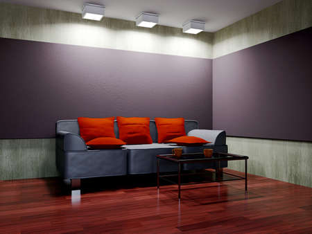 Livingroom with sofa  and a lamp near the wall Stock Photo - 16820255