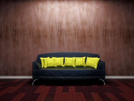Livingroom with leather sofa  near the wall Stock Photo - 16820295