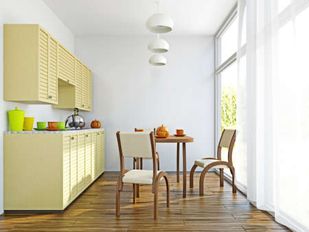 The kitchen interior with wooden furniture and table photo