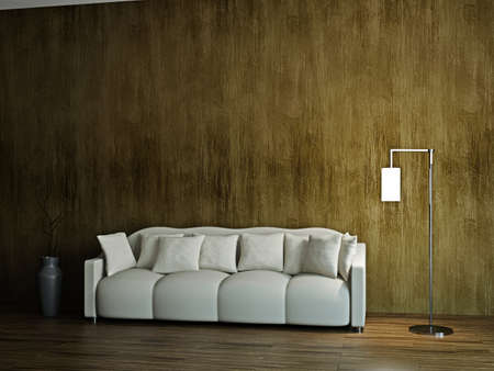 Room with sofa  and a lamp near the wall photo