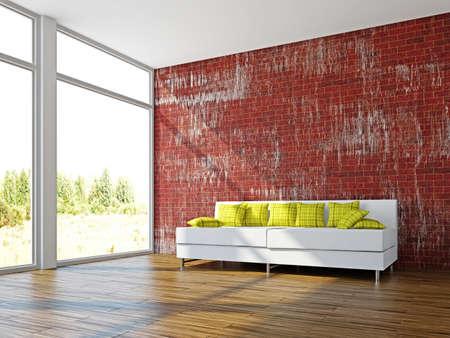 A room interior with sofa near the wall Stock Photo - 17180571