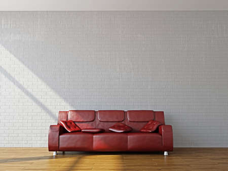 red couch: A room interior with sofa near the wall Stock Photo
