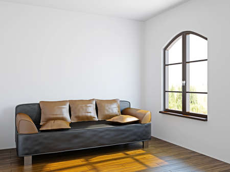 Livingroom with black sofa  near the windows photo