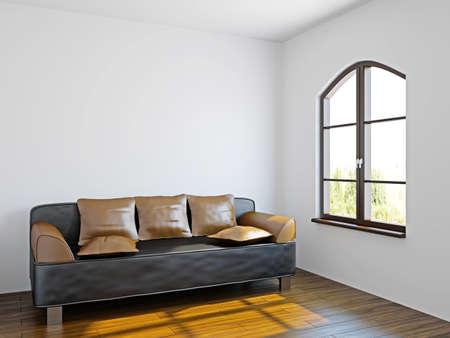 Livingroom with black sofa  near the windows Stock Photo - 17178477
