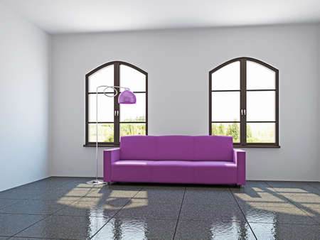 Livingroom with pink sofa  near the windows Stock Photo - 17180562