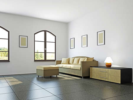 Livingroom with sofa  and a shelf near the wall Stock Photo - 17180556