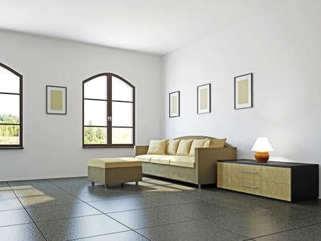 Livingroom with sofa  and a shelf near the wall Stock Photo - 17180556
