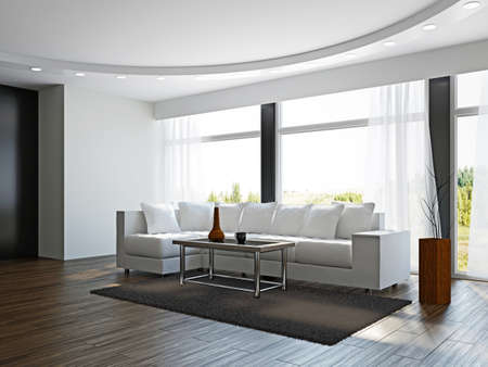 Livingroom with white sofa  near the windows Stock Photo - 17180552