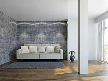 Livingroom with white sofa  near the wall Stock Photo - 17180581