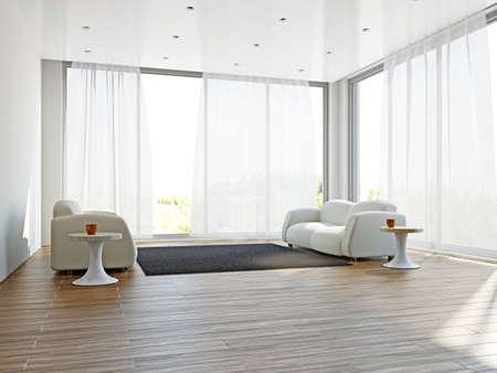 cortinas: Sala de estar con sof�s y una alfombra cerca de la ventana