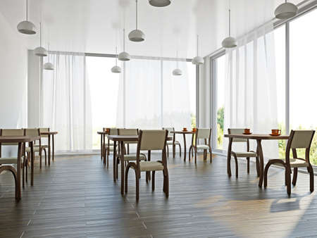 Cafe with wooden furniture and large windows photo